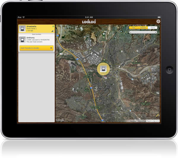 Lociloci cell phone tracker for iPad