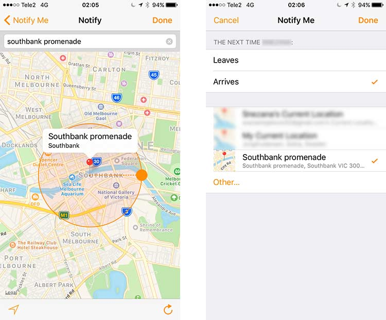 Enable notification on Find My Friends when husband arrives to geofence