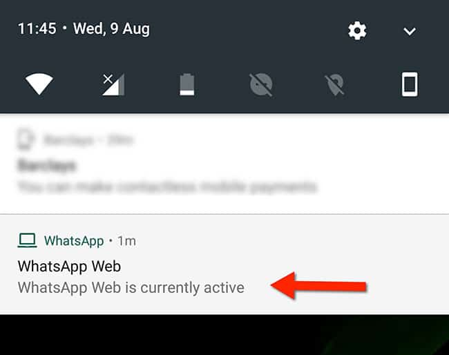 WhatsApp message that indicates that the is active on web